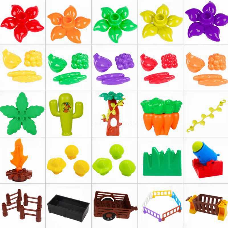 مدينة الخالق DIY حجم كبير اللبنات اكسسوارات شجرة زهرة الفاكهة متوافق Legoing الانكليزي الحيوانات قطار مزرعة الطوب اللعب