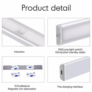 Image 3 - Closet Wardrobe LED Under Cabinet Lights by USB Rechargeable Motion sensor Led Night Lights led cabinet light lamps