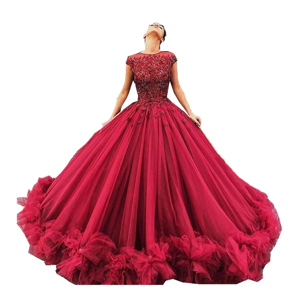 Elegant Prom Dress Long 2019 Ball Gown Cap Sleeves Tulle Burgundy Formal Party Evening Gown Robe De Soiree