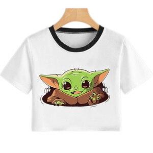Baby Yoda Mandalorian T-Shirt Women Harajuku Star Wars Cartoon T Shirt Satanist Moive Graphic Crop Top Fashion Summer New Tshirt(China)
