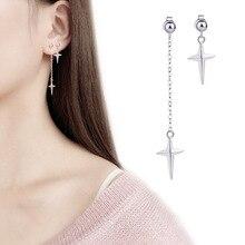 Todorova Asymmetric Cross Drop Dangle Earrings for Women Long Chain Tassel Earring Trend Fashion Jewellery Accessories a suit of sweet asymmetric bar cross earrings for women