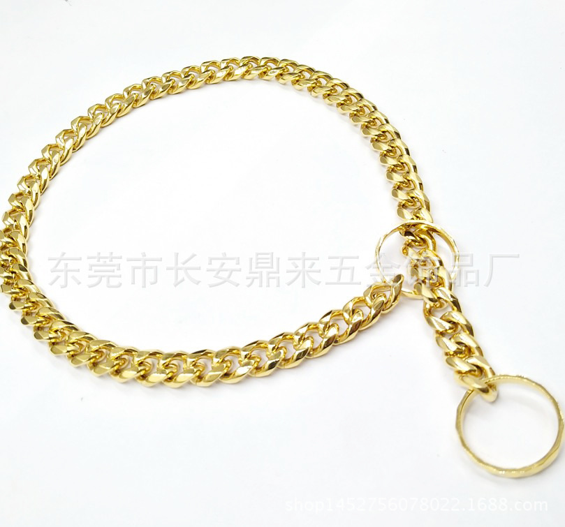 Stainless Steel Dog Chain Spacious Electroplated Polishing Gold Six-Sided Grinding Pet Collar With Decorative Pattern Lathe Circ