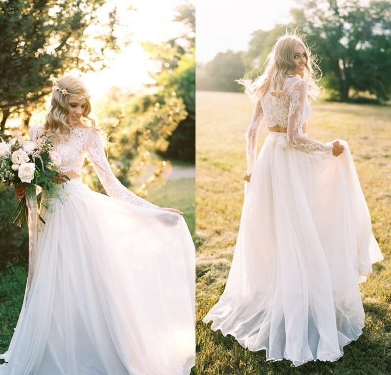 Vestido Novia Two Pieces Beach Wedding Dress Long Sleeve A Line Bridal Wedding Dresses White Lace Chiffon Bride Wedding Gowns