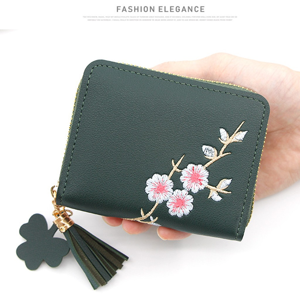 US $0.65 52% OFF|Women' S Handbags Outdoor Fashion Solid Color Flower Fringed Leather Card Wallet Women's Small Change Mini Money Hand Bag d45 on AliExpress
