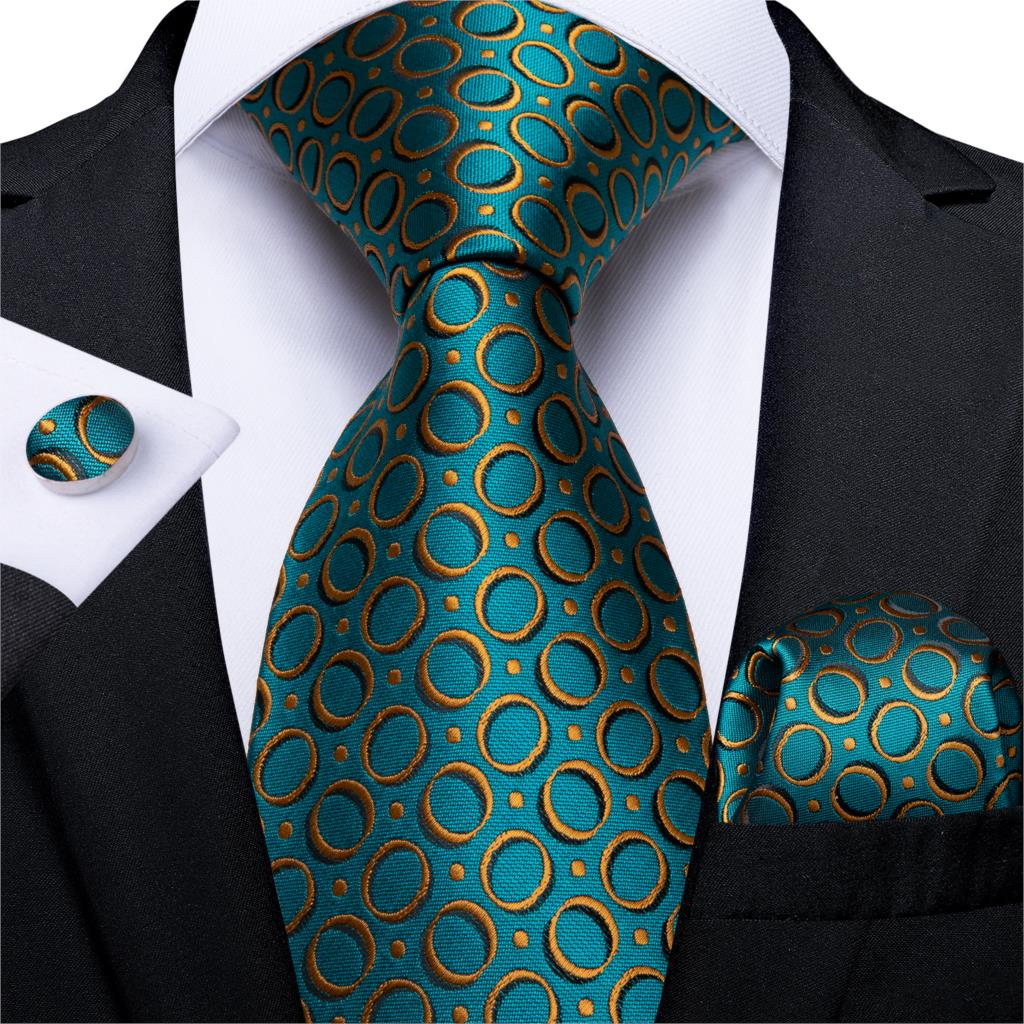 Gift Men Tie Teal Blue Gold Dot Silk Wedding Tie For Men DiBanGu Novelty Design Hanky Cufflink Quality Men Tie Set Business 7327
