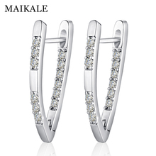 MAIKALE Simple Copper V Shape Stud Earrings AAA Cubic Zirconia Gold Silver Color Plated Long Korean For Women Send Gift