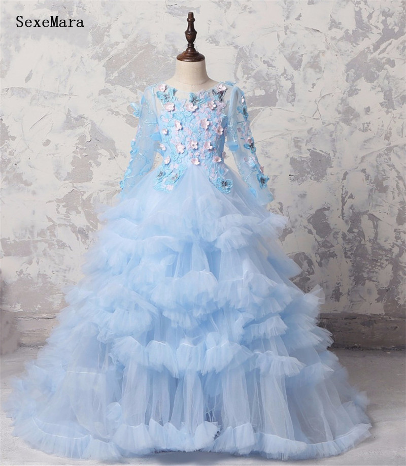New Kids Pageant Evening Gowns Applique Lace Ball Gown   Flower     Girl     Dresses   For Weddings First Communion   Dresses   For   Girls