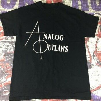Analog Outlaws T Shirts Sz M Black White Writing Band Concert Plus Size Tee Shirt