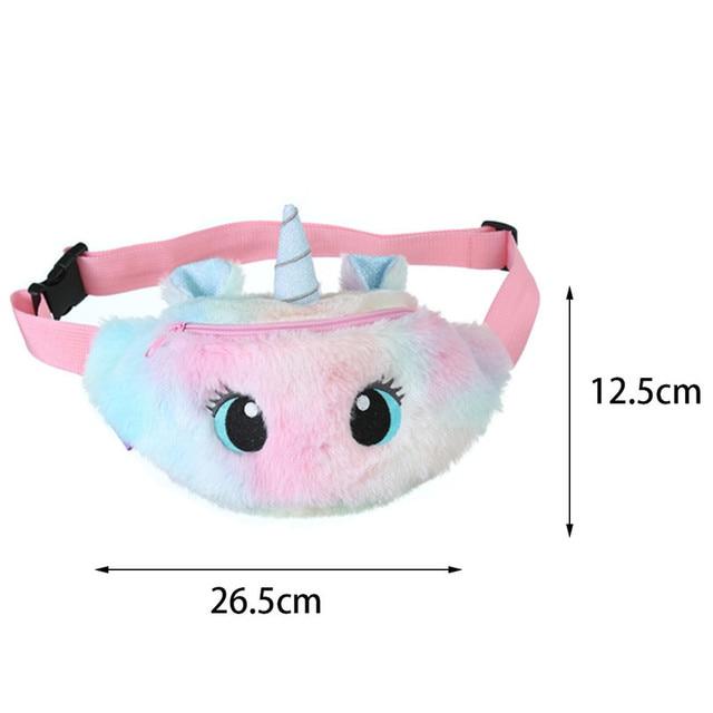 2021 Cute Unicorn Girls Waist Bag Cartoon Kids Fanny Pack Plush Women Belt Bag Fashion Travel Phone Pouch Chest Bag Coin Purse 6