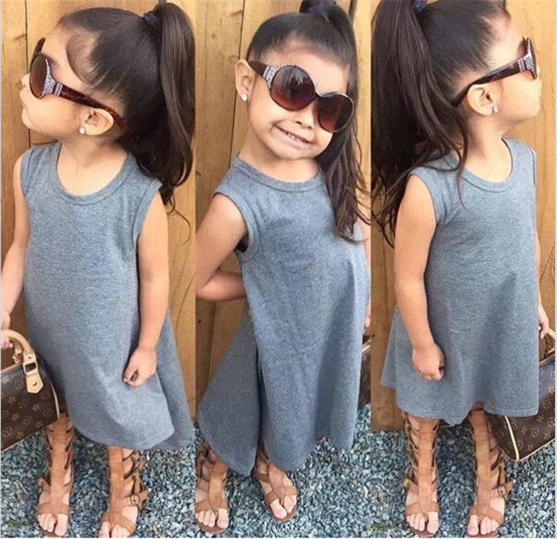 Infant Toddler Hot Baby Girls Kids Black Gray Solid Sleeveless Clothing Outfits Dress Clothes Dress Maxi Batwing Quoted Casual