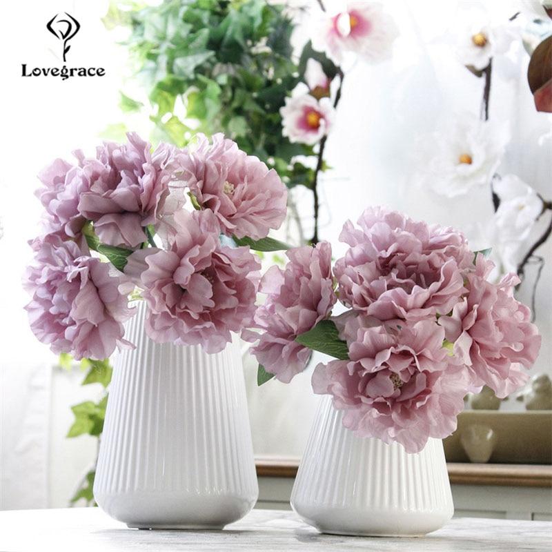 Lovegrace Wedding Bouquet Artificial Flower 5 Heads Silk Peony Bouquet Purple DIY Flower Arrangement Home Party Wedding Decor