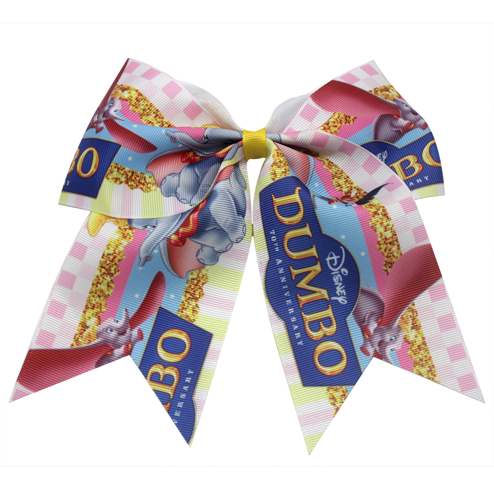 New 7 Inch Lovely Cartoon Dumbo Hair Bows Girls Cheer Bows Elastic Hair Bands Polyester Ribbon Kids Girls Hair Accessories Gift