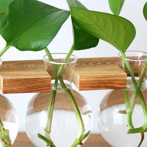 Image 3 - Florero botella de vidrio planta hidropónica transparente florero de marco de madera de la tienda de café decoración de la habitación de escritorio de la tabla de la decoración terrario florero