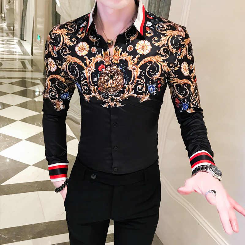 2019 outono camisa masculina marca de luxo impressão ouro manga longa camisas casual fino ajuste negócio vestido camisas social masculina