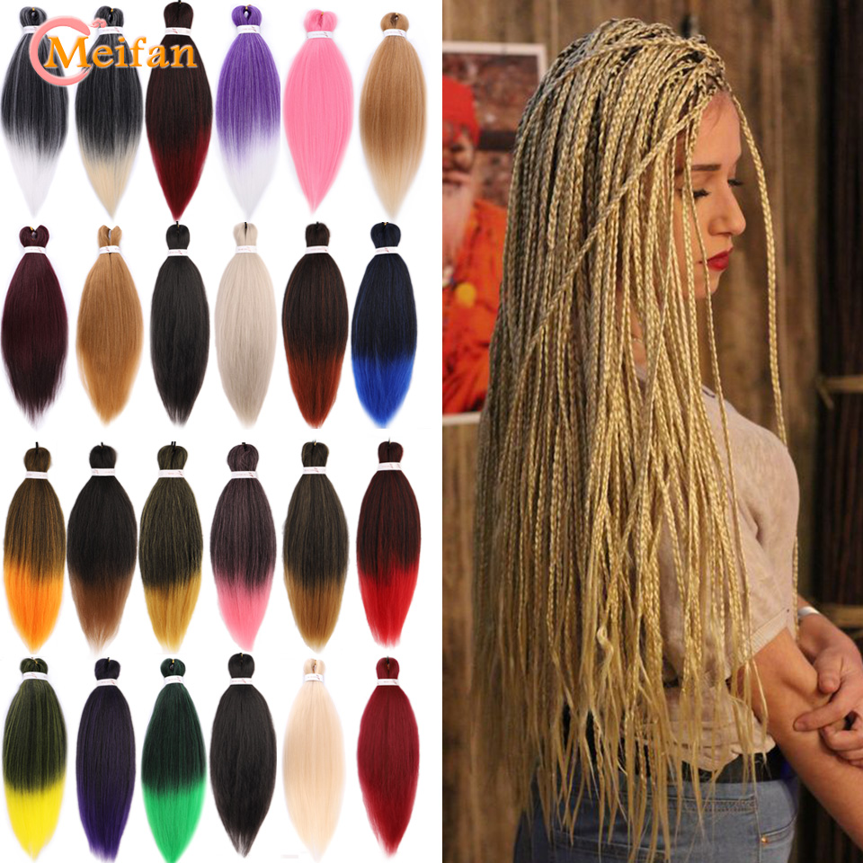 MEIFAN Synthetic Easy Braiding Hair Extension Expression Braiding Pre Stretched Ombre Crochet Jumbo Kanekalon African EZ Braids