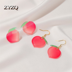 ZYZQ Japanese Summer Sweet and Refreshing Peach Earrings Acrylic Peach Earrings Girls Fruit Accessories