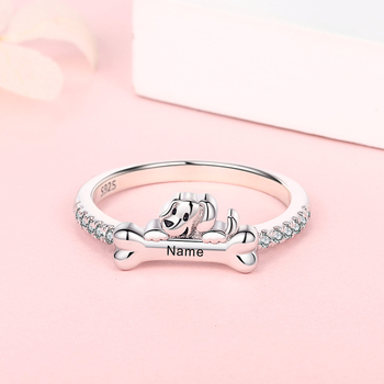 Personalized 925 Sterling Silver Custom Name Dog Bone Ring Gorgeous Zircon Engraved with Initial Date Coordinate Jewelry