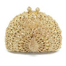 Women Luxury Crystal Bags Glitter Peacock Evening Party Prom Wedding Clutch Handbag Shoulder Chain Bag