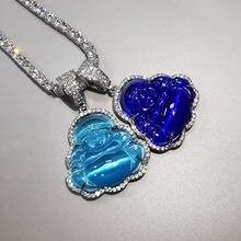 Niebieski wisiorek budda AAA sześcienne naszyjnik cyrkoniowy z łańcuchem tenisowym moda Hip Hop biżuteria punkowa prezenty