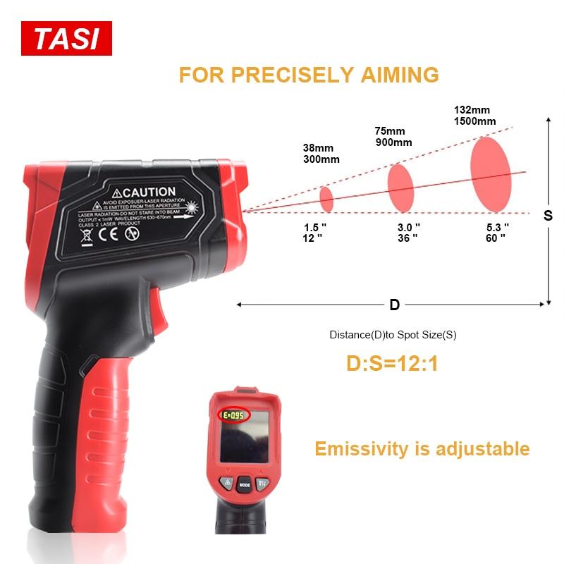 Image 2 - TASI 880 градусов Цельсия цветной дисплей высокая температура  инфракрасный лазерный термометрПриборы для измерения температуры   -