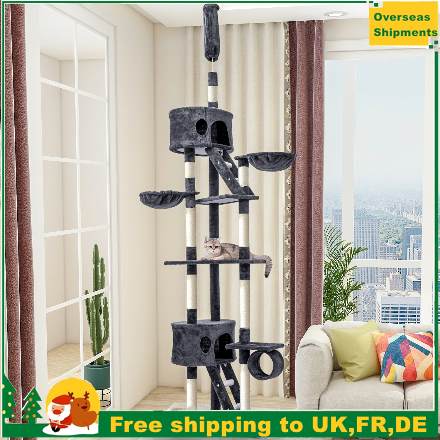 240-260cm Domestic Shipment Multi-Level <font><b>Large</b></font> <font><b>Cat</b></font> <font><b>Tree</b></font> Scratching Post Activity Centre Climbing Tower Top Post Adjustable Board image