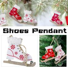 купить Christmas Wooden Painted Innovative Skates Ski Shoes Pendant Decorative Christmas Tree Ornament Christmas Home Door Decorations по цене 67.09 рублей