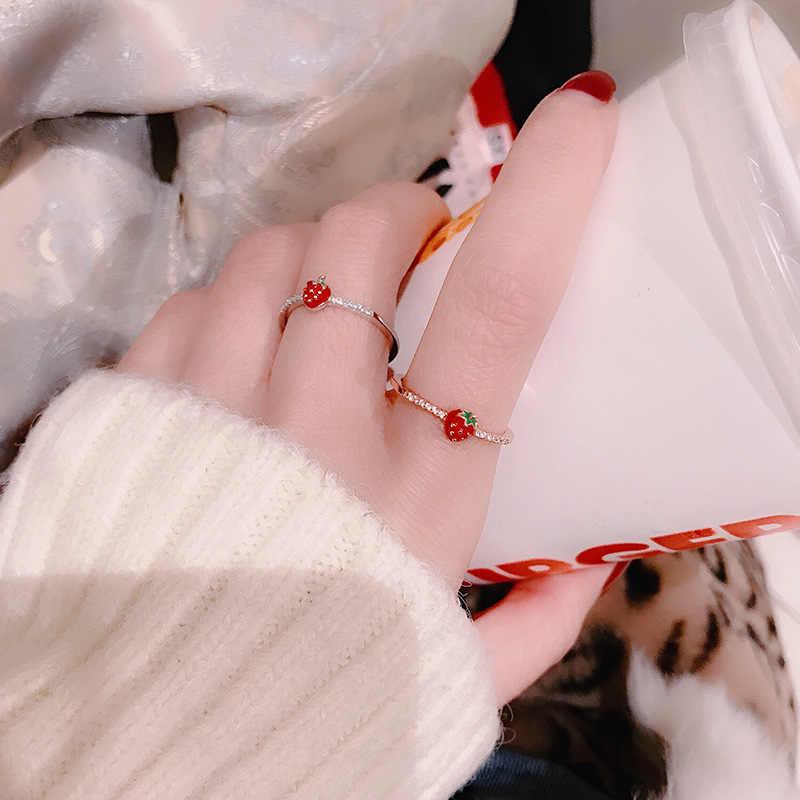 かわいいゴールドカラー合金桜少女キッズベビーエナメルリングエナメルジュエリーパーティーギフト調節可能なサイズ
