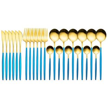24pcs Gold Dinnerware Set Stainless Steel Tableware Set Knife Fork Spoon Luxury Cutlery Set Gift Box Flatware Dishwasher Safe - Blue Gold