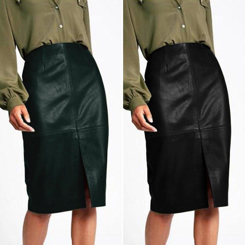Stylish Office Lady PU Leather Skirts Women's Vestidos ZANZEA High Waist Pencil Skirt Female Front Split Faldas Saia Oversized