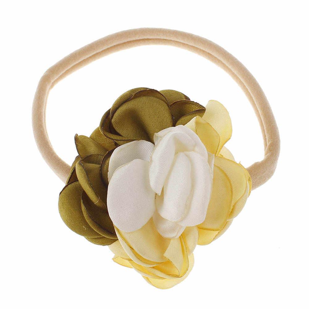 בנות Waven פרח עם ניילון עירום סרט ילדי בד שיפון Bebe שיער פרחי ילדים בארה 'ב רך אלסטי גומייה לשיער