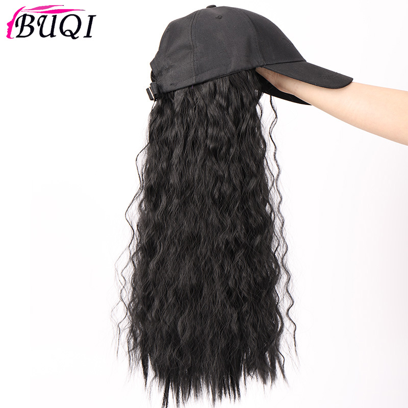 Long Synthetic Baseball Cap Wig Natural Black / Brown Wave Wigs Naturally Synthetic Hat Wig Adjustable For Girl Party BUQI