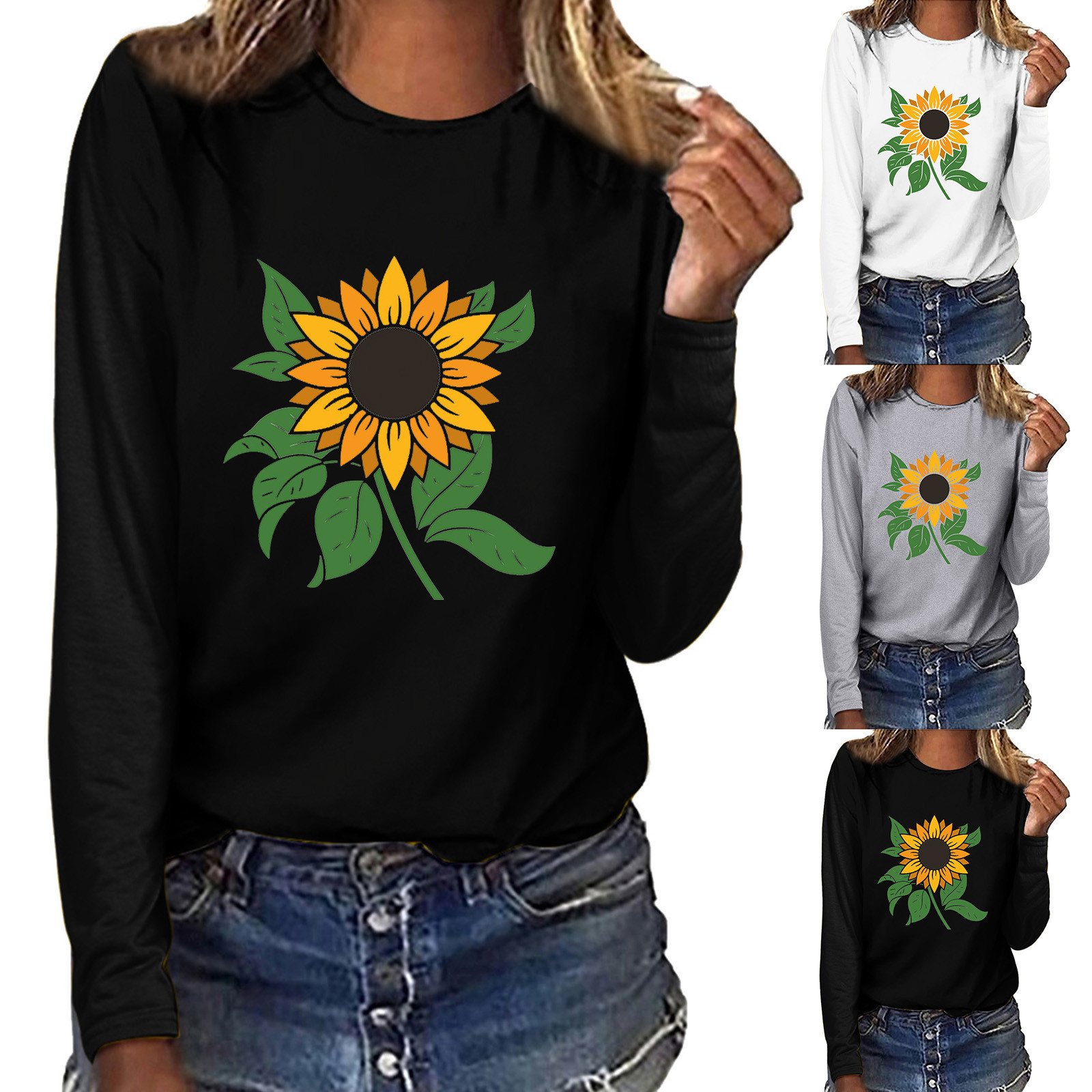 New Autumn Women's Fashion T-Shirts Sunflower Printed Plus Size Tee Shirt Round Neck Long Sleeve Lady Casual Loose TShirts Tops
