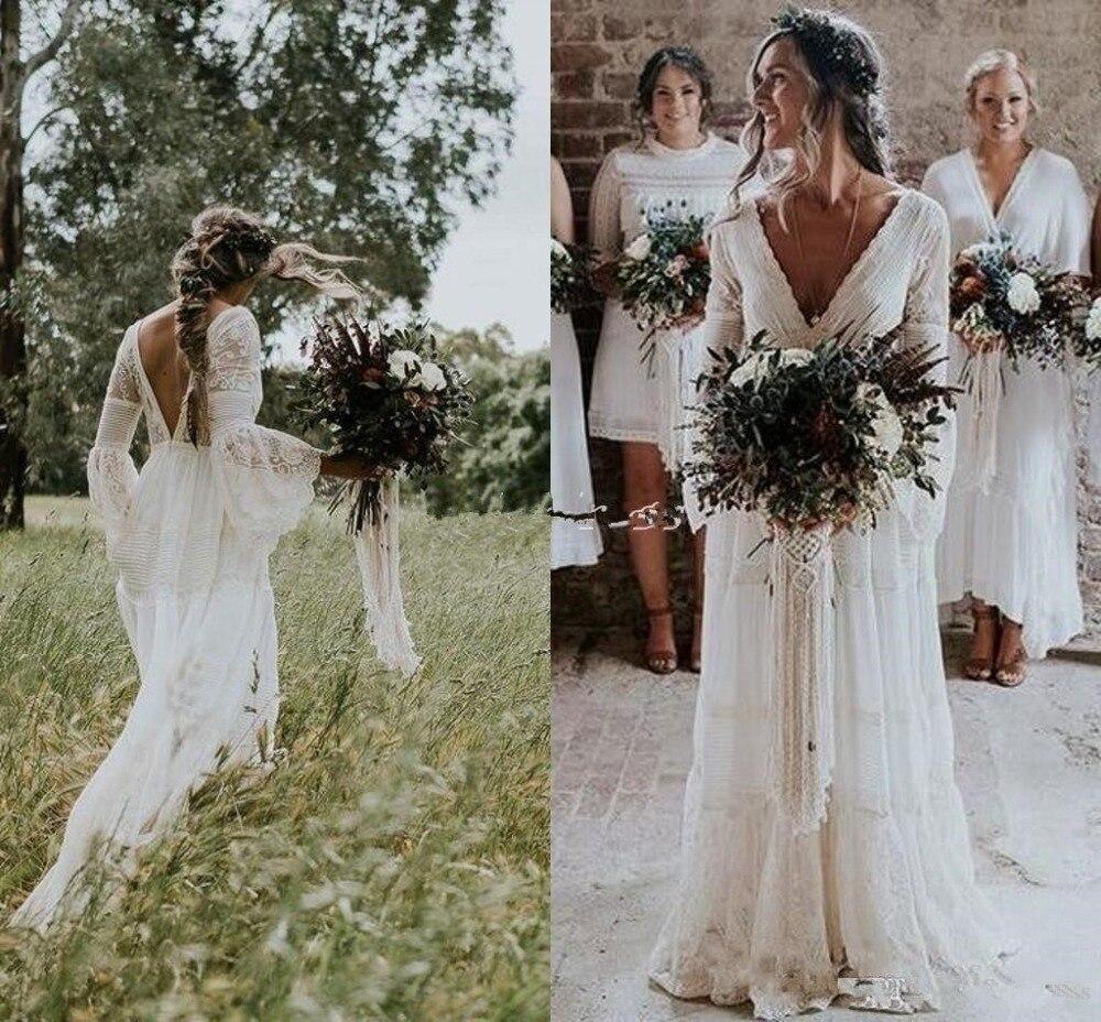 2019 Bohemian Wedding Dresses V Neck Long Sleeve Lace Sweep Train Beach Garden Country Bridal Gowns Robe De Mariee Wedding Dress