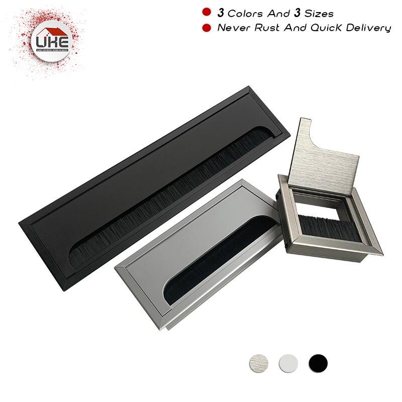 UKE For Computer Desk Office Desk 80mm,160mm Long Aluminum Grommet Cable Box Square Metal Grommet Cable Hole Cover