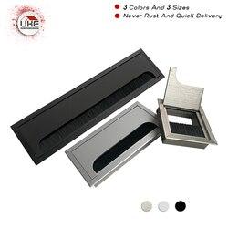 UKE na biurko komputerowe biurko 80mm  160mm długi aluminiowy przepust kablowy Box kwadratowy metalowy przepust kablowy pokrywa otworu|cable hole cover|computer desk hole covergrommet cable hole cover -