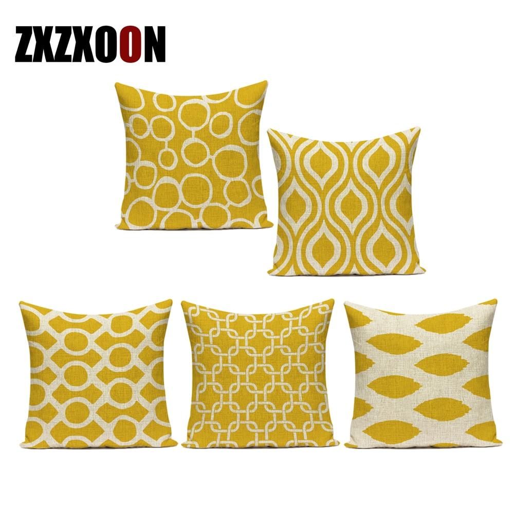 Linho de algodão simplesmente amarelo geométrico seta círculo listra almofadas decorativas capa almofada para sala estar decoração fronha