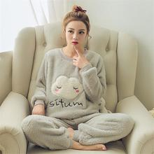 Women Winter Pajamas Sets Flannel Warm Thicken Pyjamas With Animal Cartoon Sleepwear Plus Size Women
