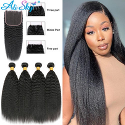 Alisky brazylijski włosy ludzkie włosy perwersyjne proste zestawy z zamknięciem 5*5 doczepy z włosów typu Remy ludzkie włosy naturalne splot zestawy