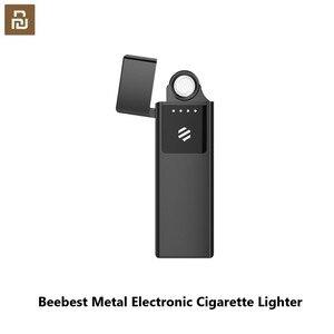 Image 1 - Mijia Beebest metalowa zapalniczka elektroniczna USB akumulator z ekranem dotykowym wiatroszczelne gadżety papierosowe mężczyźni bezpieczne bez ognia