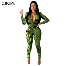 Striped Print Sexy Rompers Womens Jumpsuit Deep V Neck Long Sleeve Bodycon Bodysuit  Streetwear Front Zipper Club Party Catsuit