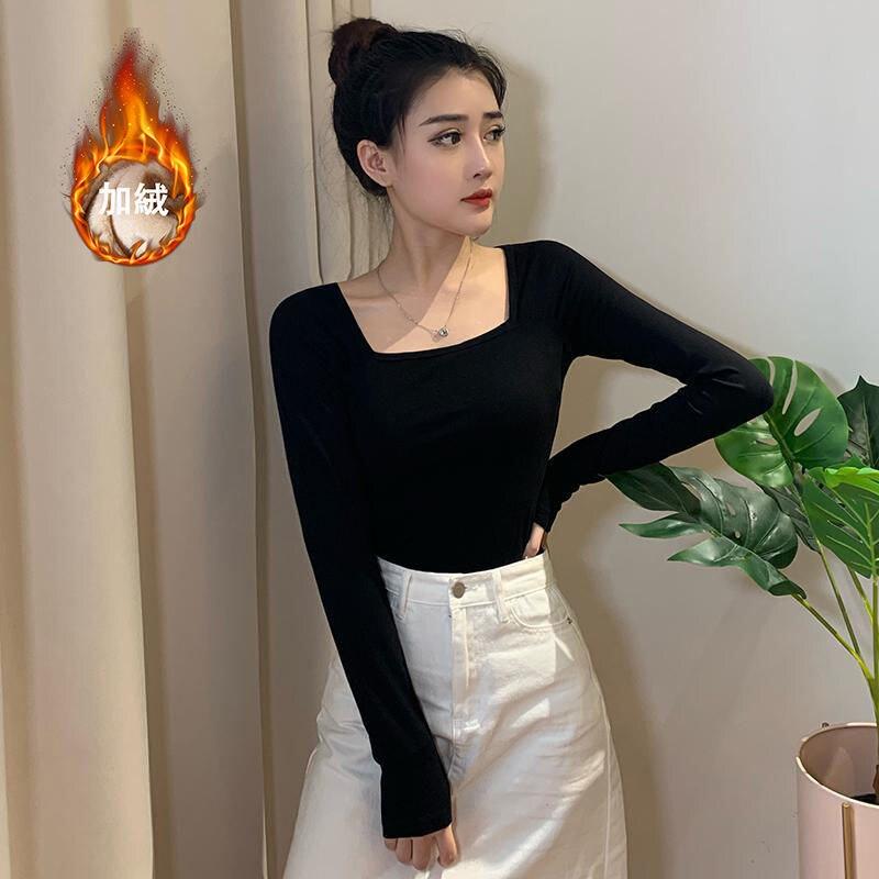 Женские футболки, черная женская футболка с низким воротником и длинным рукавом, топы, женские футболки