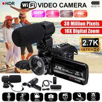 2.7K Digital Camcorder Video Camera Wifi Night Vision 3.0 inch 1520P HD LCD Screen Time lapse Camera with Mic Remote Control