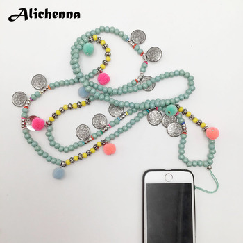 Long Cell Phone Neck Necklace Strap Green Wooden Beads Crystal Chain Lanyard U Disk ID Work Card Fashion Mobile Phone Necklaces