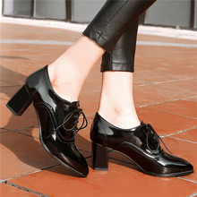 Pointed Toe Ladies Block Heel Shoes Woman Patent Leather High Heels Office Women Shoes 2020 Spring Lace Up Dress Pumps Shoes genuine leather comfort square heel pointed toe woman pumps fashion lace up dress high heel shoes woman black green