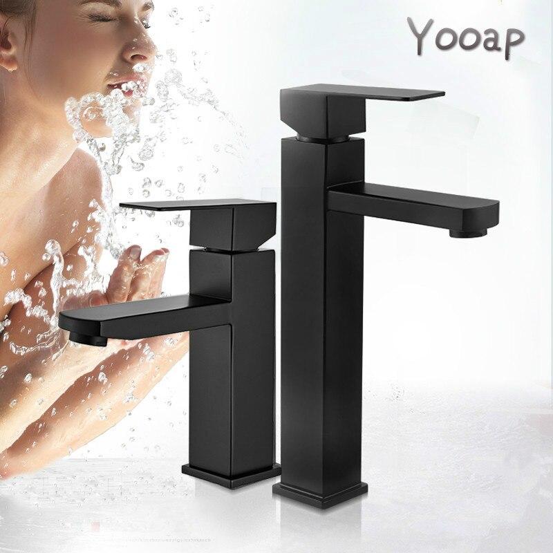 Yooap preto fosco quadrado bacia torneira do banheiro preto lavatório toque mixer único punho torneira da bacia