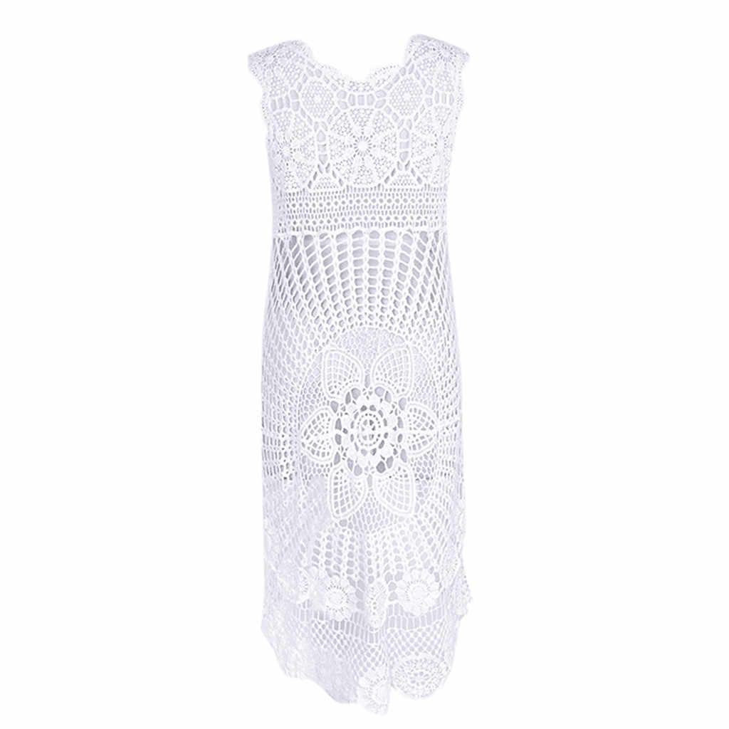 Pareo cover up manga longa malha malha crochê praia túnicas biquíni sarong envoltório maiô feminino vestido de verão 2020 kaftan