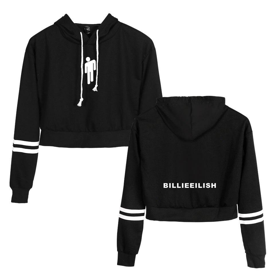 Image 5 - Koszula Billie Eilish bluza z kapturem Crop Top bluzy z długim rękawem Casual bluzy z kapturem ubrania z kapturem Harajuku swetry ubrania w Bluzy z kapturem i bluzy od Odzież damska na