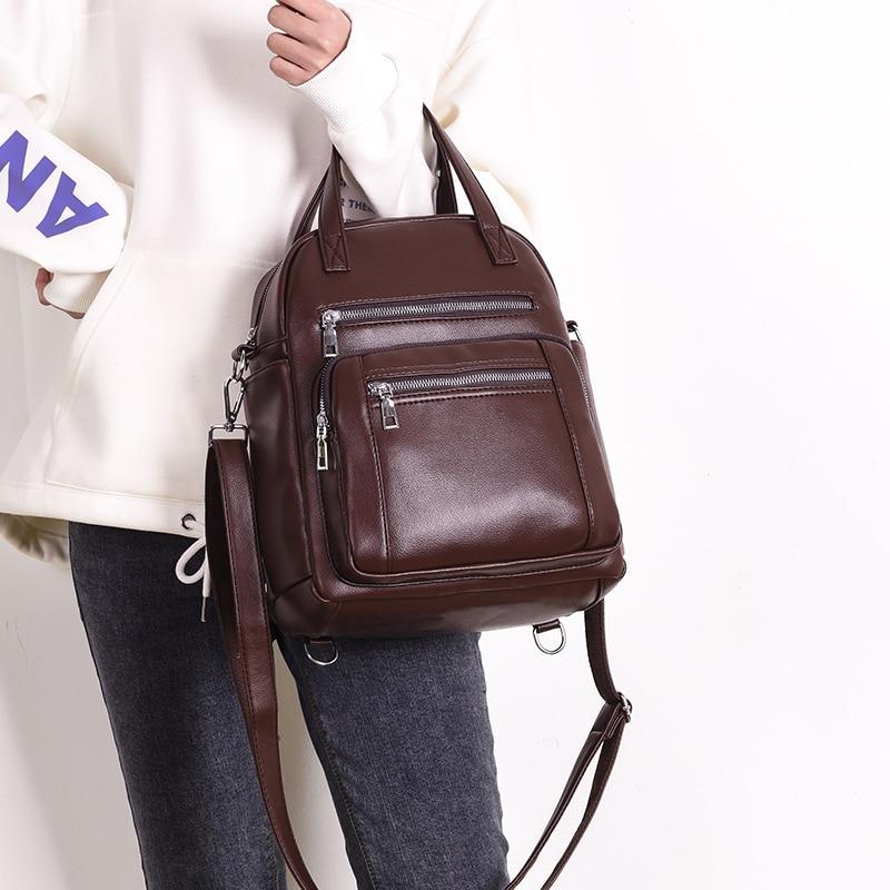 Leather Backpack Two Dog Brown Wicker Basket Womens PU Bookbag School Purse Shoulder Bag