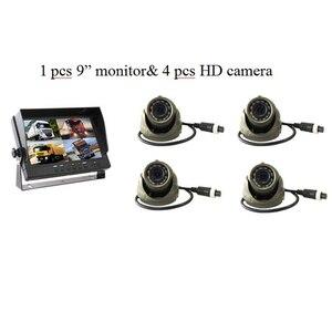 9 pulgadas AHD 4ch grabador DVR Monitor de coche vehículo camión visión nocturna cámara de visión trasera vigilancia de seguridad pantalla dividida Quad kit