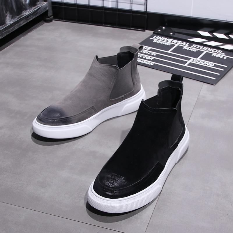 men casual ankle boots genuine leather shoes slip-on flat shoe outdoor platform chelsea boot zapatos de hombre botas man botines